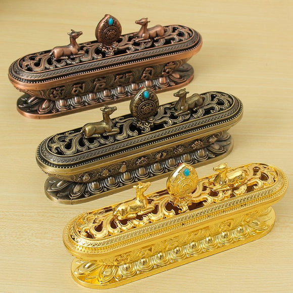 On Sale Vintage Tibet Incense Burner Tibetan Alloy Bronze Incense Burner Buddhism Auspicious Ornaments Metal Craft Home Decor - Lucky Mouse Chinese Gifts