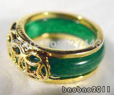 Green stone 18KGP Chinese Coin Fortune Ring Size:  .7.8