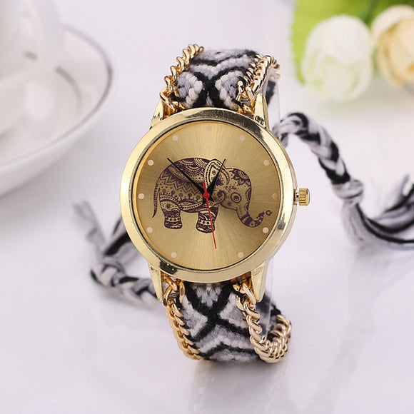 Women Elephant Pattern Weaved Rope Band Bracelet Quartz Dial Watch - Lucky Mouse Chinese Gifts