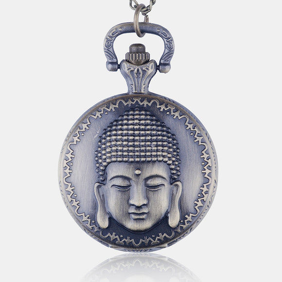 Vintage Bronze Buddha Quartz Pocket Watch Necklace Pendant Best Gifts - Lucky Mouse Chinese Gifts
