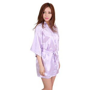 Women's Kimono Robe Knee Length Bridal Lingerie Sleepwear Short Satin Robe - Lucky Mouse Chinese Gifts