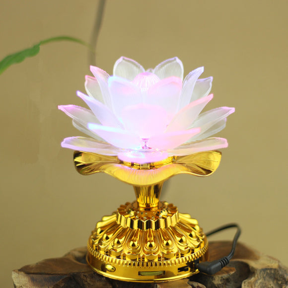 Holy 7 Colorful LED Lotus Lamp Buddhist Supplies Alloy Base Change white Lamp with 13 Buddhism Song Buddha Temple Decoration - Lucky Mouse Chinese Gifts