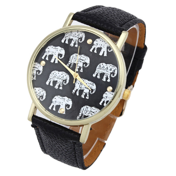 Girl Elephant Pattern Faux Leather Band Analog Quartz Dial Watch - Lucky Mouse Chinese Gifts