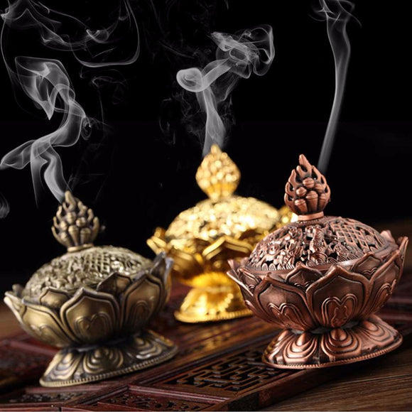 Holy Tibetan Lotus Designed Incense Burner Zinc Alloy Bronze Mini Incense Burner Incensory Metal Craft Home Decor - Lucky Mouse Chinese Gifts