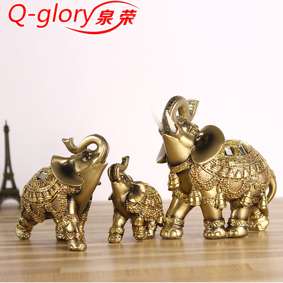 Q-glory Golden Elephant Figurines Statue Resin Lucky Elephant Garden Figures Home Decoration Accessories - Lucky Mouse Chinese Gifts