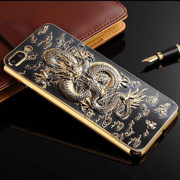 Luxury 3D Dragon Pattern Case for iPhone 8 Plus 8 7 7Plus Case Electroplating TPU Soft Phone Case for iPhone 6 6sPlus Back Cover - Lucky Mouse Chinese Gifts