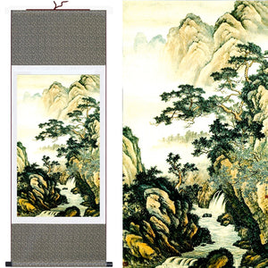 "High Quality Large Size""Mountains&Waterfall"" Chinese Traditional Painting Framed Wall Art Home Decoration Picture Silk Scroll - Lucky Mouse Chinese Gifts"