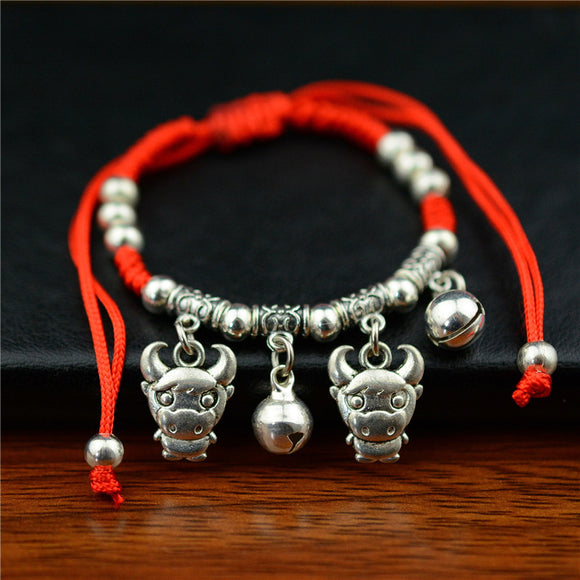 New Chinese Style Zodiac Bells Pendant Adjustable Bracelet Braided Lucky Red String Rope Handmade Weaving Bracelet - Lucky Mouse Chinese Gifts