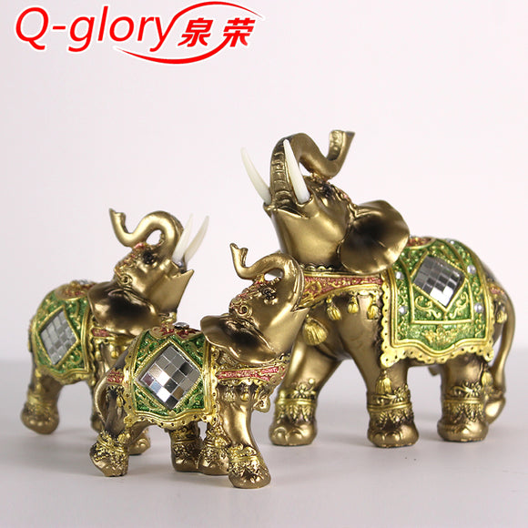 Q-glory Home Decor Resin Elephant Figurines Garden Figures Gifts Elephant Decoration Statues Miniature Lucky Elephant Christmas - Lucky Mouse Chinese Gifts