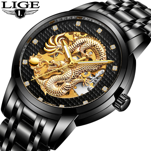 LIGE Luxury Dragon Automatic Mechanical Wristwatches Leather Men's Watch Man Stainless Steel Waterproof Clock relogio masculino - Lucky Mouse Chinese Gifts