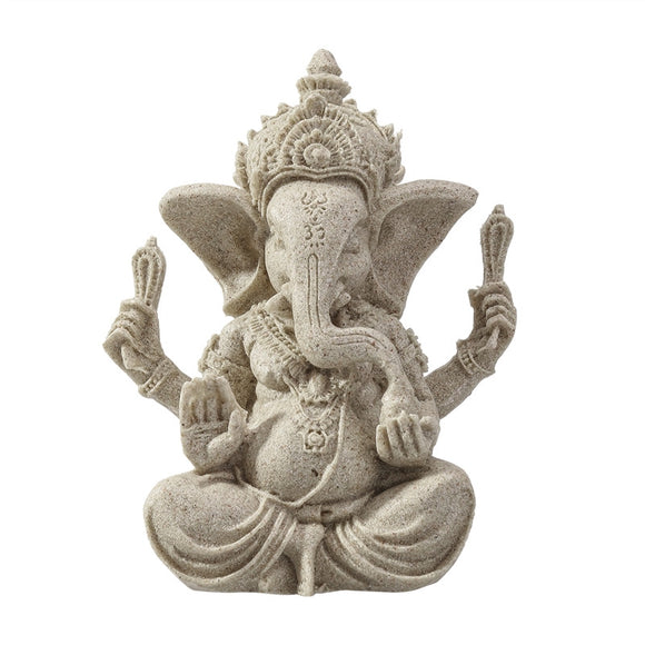 Sandstone Ganesha Buddha Elephant Statue Sculpture Handmade Figurine - Lucky Mouse Chinese Gifts