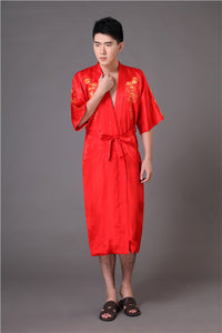 High Quality Burgundy Men's Kimono Bath Gown Chinese Style Silk Satin Robe Embroidery Dragon Nightgown Sleepwear Pijamas MR012 - Lucky Mouse Chinese Gifts