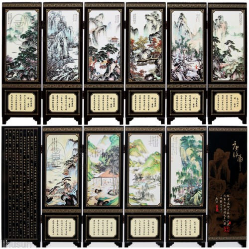 TNUKK  Chinese Handmade Vintage Mountain&River Wooden Lacquer Six Pieces Folding Screen - Lucky Mouse Chinese Gifts