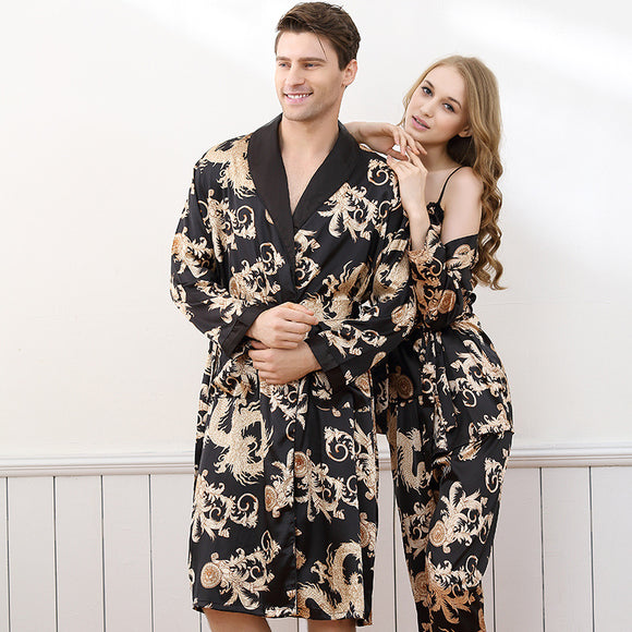 Luxury Sexy Satin Silk Men's Robe dragon print Long-Sleeve lovers Bathrobes Kimono V-Neck  Silk Sleepwear womens robe - Lucky Mouse Chinese Gifts