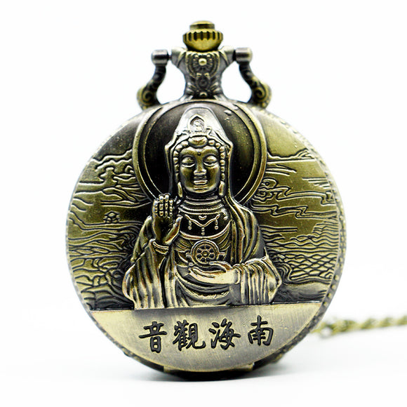 Vintage Chinese Bronze Buddha Pocket Watch Pendant Men Women Watches with Necklace Chain - Lucky Mouse Chinese Gifts
