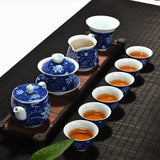 High Quality Blue And White Tea Sets Chinese Kung Fu Tea Set Chinese Porcelain Gaiwan Hand Made Cup And Saucer Teapot Kettle - Lucky Mouse Chinese Gifts
