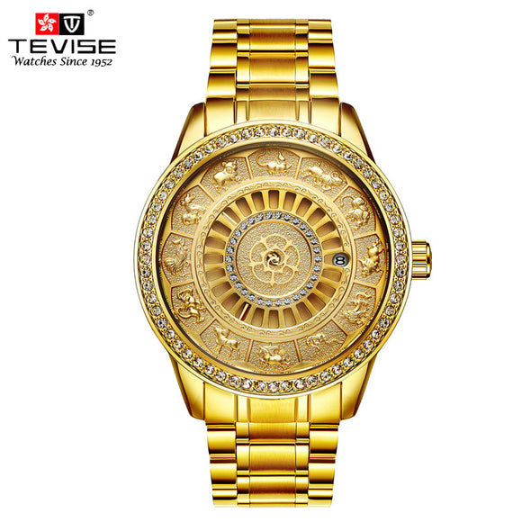 Gold Automatic Self-Wind Mechanical Watches Business Luxury Stainless Steel 12 Chinese Zodiac Wristwatch - Lucky Mouse Chinese Gifts
