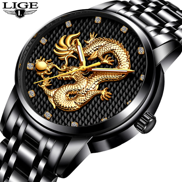 Men Watches Top Brand LIGE Luxury Gold Dragon Sculpture Quartz Watch Men Full Steel Waterproof Wristwatch relogio masculino - Lucky Mouse Chinese Gifts