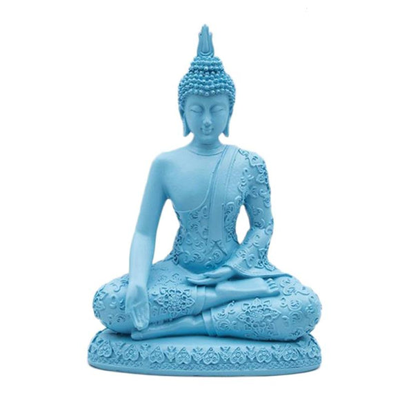 Sandstone Seated Thailand Buddha Statue Resin Technology Sculpture Hand Carved Figurine Fengshui Luck Wealth Ornament Decor Blue - Lucky Mouse Chinese Gifts