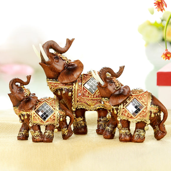 Q-glory a set Elephant Statues Home Decoration Accessories Resin Home Decor Figurines Lucky Elephant Holiday Gifts - Lucky Mouse Chinese Gifts