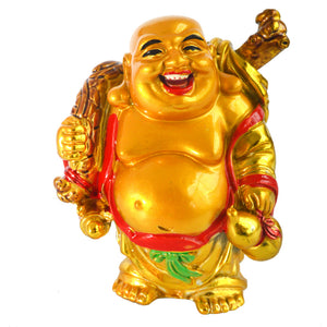 Wealth Coin Bag Happy Laughing Maitreya Buddha Statue J2172 - Lucky Mouse Chinese Gifts