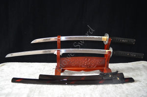 HIGH QUALITY HAND FORGED JAPANESE SAMURAI SWORD SET ( KATANA + WAKIZASHI ) FULL TANG CAN CUT BAMBOO TREE - Lucky Mouse Chinese Gifts