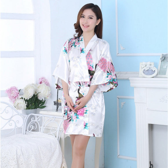 Kimono Women's Robe Peacock Print Design Long Sleeve Clothes Sleepwear Robes KL76 New - Lucky Mouse Chinese Gifts