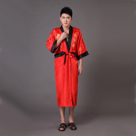 Two Side Chinese Men's Silk Satin Robe Reversible Embroidery Dragon Nightgown Sleepwear Kimono Gown S M L XL XXL XXXL MR013 - Lucky Mouse Chinese Gifts
