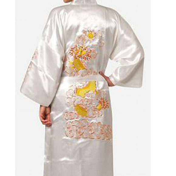 White Chinese Men's Traditional Embroidery Satin Robe Dragon Kimono Bath Gown Male Sleepwear Plus Size XXXL - Lucky Mouse Chinese Gifts
