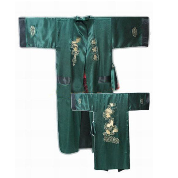 Reversible Satin Robe Chinese Traditional Embroidery Vintage Dragon Kimono One Size - Lucky Mouse Chinese Gifts