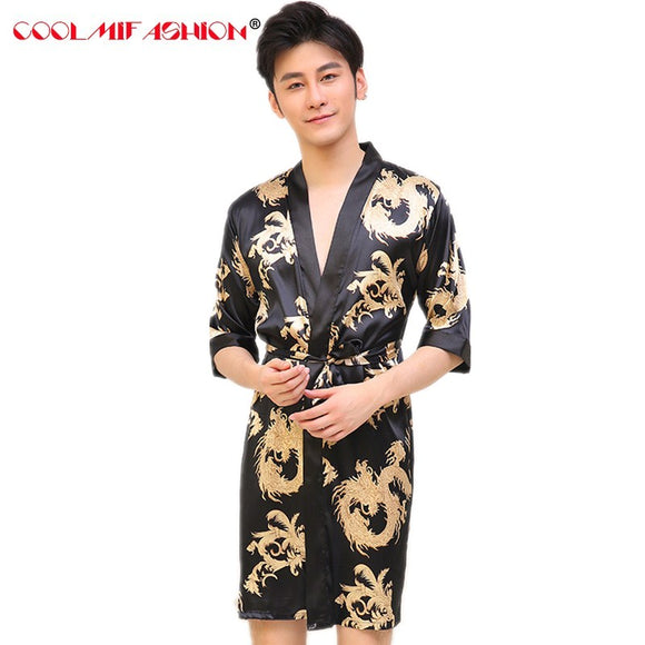 Men luxury print silk Dragon Robes Traditional Male Sleepwear Nightwear Kimono With Bandage bath gown mens robes dressing gowns - Lucky Mouse Chinese Gifts