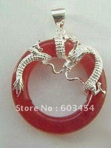 Free shipping Red  Silver Dragon Round Pendant & Necklace /  Shiping 1Pcs - Lucky Mouse Chinese Gifts
