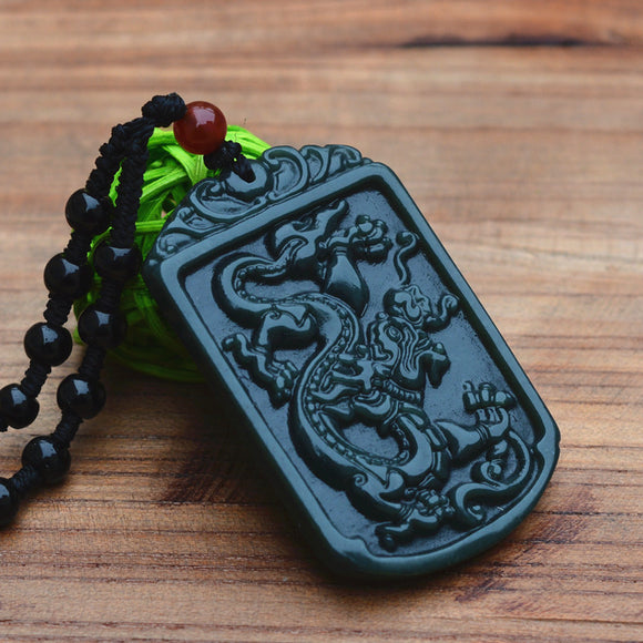 Natural Green Hetian Jades Pendant Carved Chinese Dragon With Beads Necklace Pendants Women Men's Amulet Nephrite Jades Jewelry - Lucky Mouse Chinese Gifts