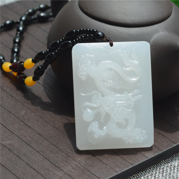 Natural Afghanistan White Yu Stone Pendant With Beads Necklace 3D Carved Flying Dragon Women Men's Amulet Jades Jewelry Pendants - Lucky Mouse Chinese Gifts