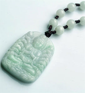 Natural Jadeite Jades Guanyin Pendant 3D Handmade Carved Mercy Goddess Pendants Women Men's Amulet Jades Jewelry+Beads Necklace - Lucky Mouse Chinese Gifts