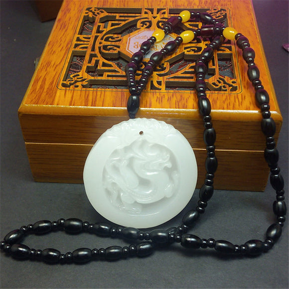 Natural Afghanistan White Stone Pendant 3D Carved Dragon Wek-jin Women Men's Amulet Jades Jewelry Pendants With Beads Necklace - Lucky Mouse Chinese Gifts