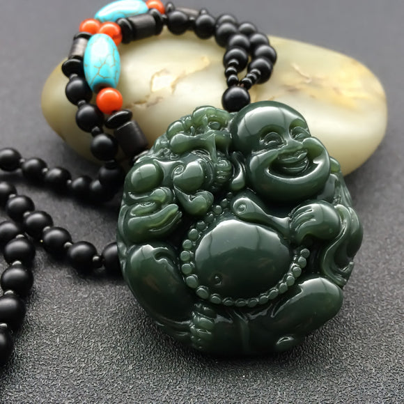Natural Hetian Qing Jades Pendant 3D Carved Laughing Maitreya Buddha Pendants Women Men's Amulet Nephrite Jewelry+Beads Necklace - Lucky Mouse Chinese Gifts
