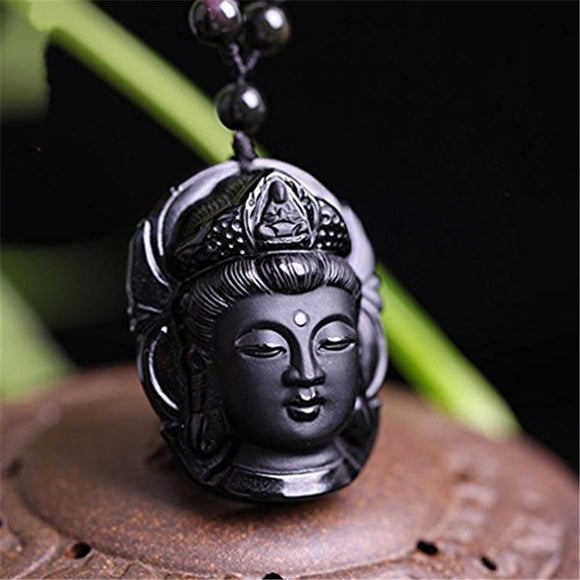 Natural Obsidian Stone Carved Buddha Head Mercy Goddess Pendant Women Men's Amulet Lucky Jades Jewelry Pendants+Beads Necklace - Lucky Mouse Chinese Gifts