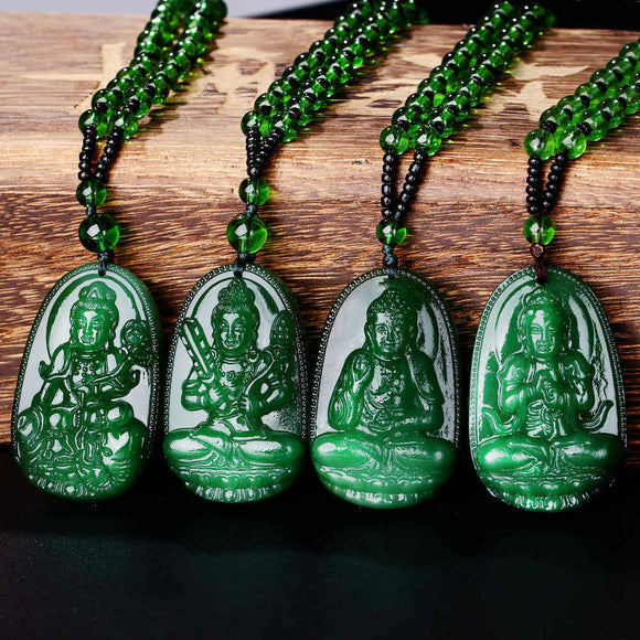 Natural Green Buddha A Buddism Buddha Pendant Saint Cut The Life Of  Buddha Zodiac Men And Women Necklace Will Day  Jade emerald - Lucky Mouse Chinese Gifts