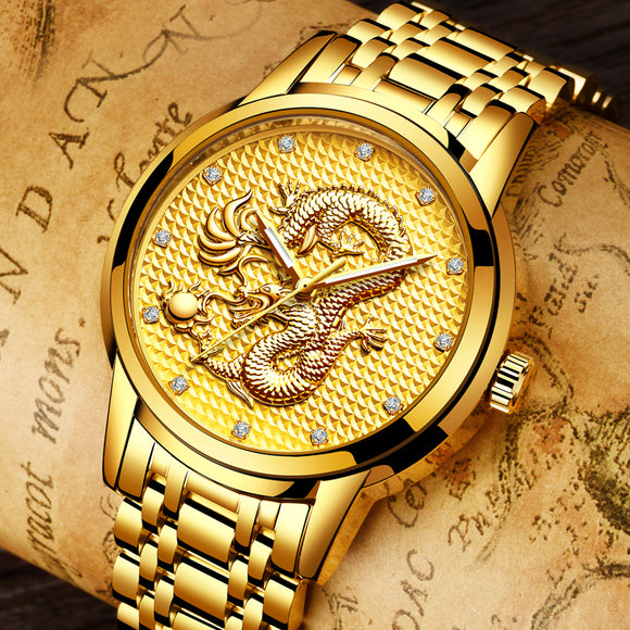 relogio masculino Genuine LIGE Mens Watches Top Brand Luxury Gold Dragon Sculpture Quartz Watch Men Full Steel Wristwatch +box - Lucky Mouse Chinese Gifts