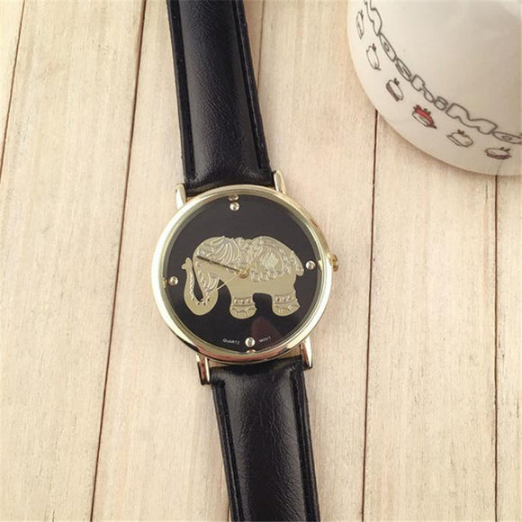 Womens Elephant  pattren Leather Band Analog Quartz Dial Wrist Watch Brand New High Quality Luxury Free Shipping #270717 - Lucky Mouse Chinese Gifts