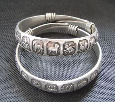 OLD HANDWORK MIAO SILVER CARVED LUCKY CHINESE ZODIAC ADJUST BRACELET BANGLE - Lucky Mouse Chinese Gifts