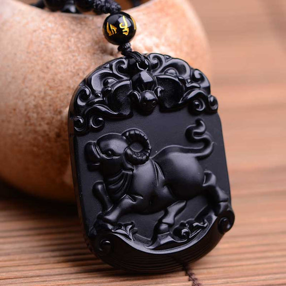 Natural Black Obsidian Pendant Carved Chinese Mascot Zodiac Cattle Pendant Bead Necklace Lucky Amulet Men Women's Jades Jewelry - Lucky Mouse Chinese Gifts