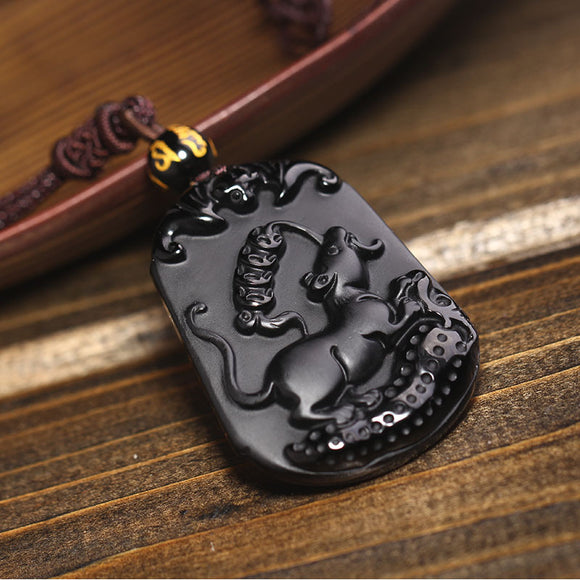 Natural Black Obsidian Pendant Carved Chinese Mascot Zodiac Mouse Pendant Bead Necklace Lucky Amulet Men Women's Jewelry - Lucky Mouse Chinese Gifts