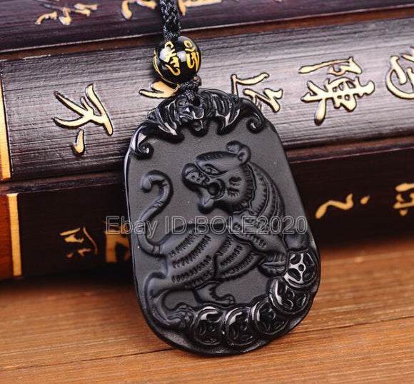 Natural Black Obsidian Carved Chinese Zodiac Tiger Lucky Pendant + Rope Necklace - Lucky Mouse Chinese Gifts