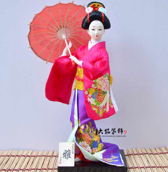 Japanese Geisha doll handmade silk gift collection of Japanese Kabuki humanoid decorative umbrella Y15 - Lucky Mouse Chinese Gifts