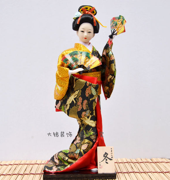 Japanese Geisha doll doll Japan silk Figure 12 inch winter Appearance modeling - Lucky Mouse Chinese Gifts
