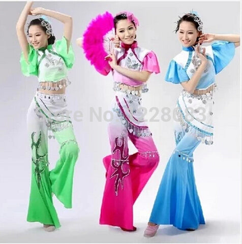 Free Shipping New Women Girl Folk Dress Ancient National Clothing Oriental Fan Chinese Opera Costumes / Chinese National Costume - Lucky Mouse Chinese Gifts