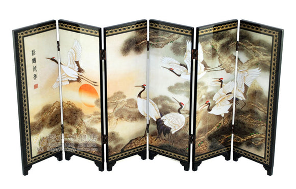 TNUKK  Chinese Lacquer Painting Beautiful Folding Screen Songhe pattern Decoration Crafts. - Lucky Mouse Chinese Gifts
