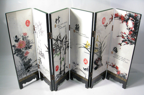 TNUKK  Desk decorative chinese Lacquer ware painting-Mei, orchid,bamboo,chrysanthemum folding screen. - Lucky Mouse Chinese Gifts